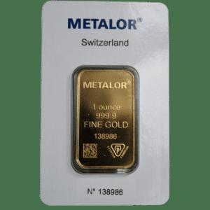 1 oz 31,1 gr guldbarre Metalor Schweiz- køb guld til gode guldpriser hos Vitus Guld