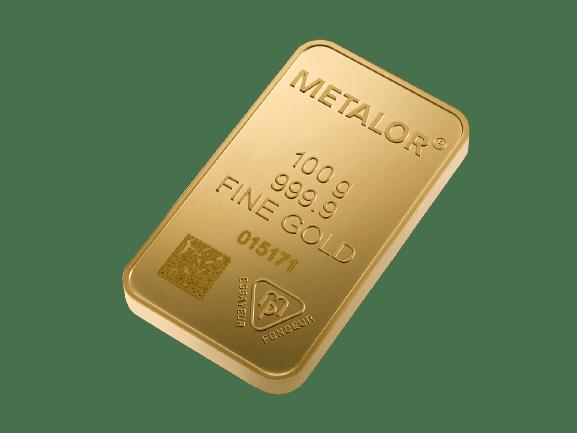 100 gram guldbarre fra metalor - Køb guld og guldmønter hos Vitus Guld - Bedste guldpriser