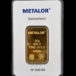 Guldbarre 20 gr. fra Metalor i Schweiz