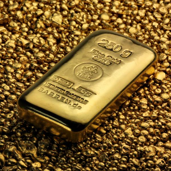 Vitus Guld webshop investeringsprodukter i guld sølv platin fysisk investering i ædelmetaller anbefalet af eksperter økonomisk strategi spredning af aktiv 250 gram finguld 24 karat guld ægte guld Heimerle Meule