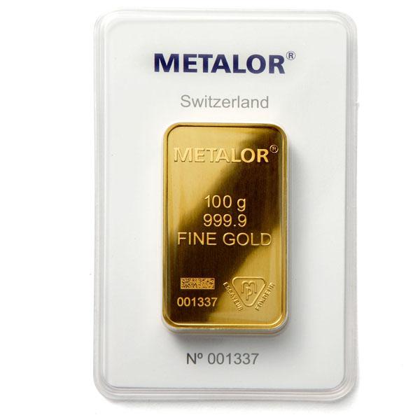 Indpakket metalor 100 grams wafer guldbar