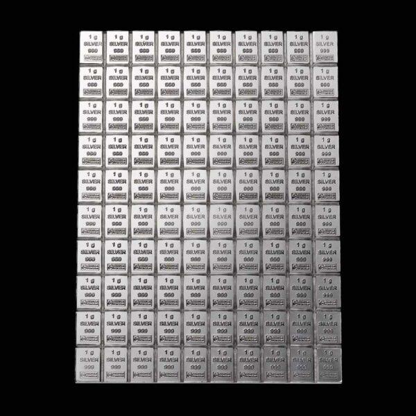 investering sølv bar combi finsølv 100 gr. økonomi investering portefølje gave økonomisk sikring praktisk sølvbar bræk af 1 gr. sar sammen plade med 1 grams barre Vitus Guld Heimerle Meule investeringssølv sølvbar finsølv combi bar