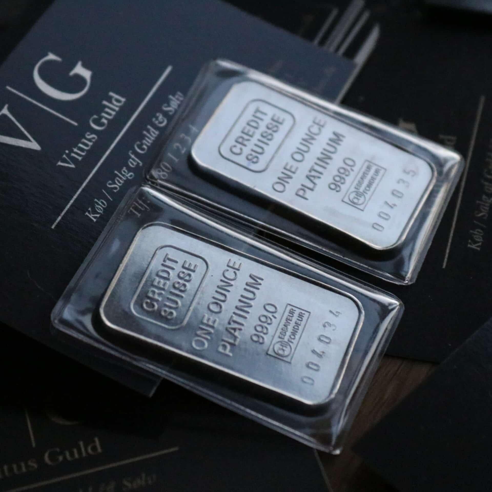d7a8d71b19e TILBUD - 1 Oz Platin Bar 999,0 ‰ - Credit Suisse - Vitus Guld