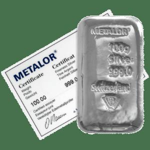 Vitus Guld webshop investerings sølvbarre Metalor ægte sølv finsølv professionel handel billige sølvbarre økonomisk strategi spredning af aktiv lavrisiko sæt penge i fysisk investering - Sølvbarre 100 gr fra Metalor