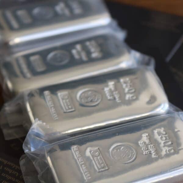 250 gr. Sølvbarre 999,9 ‰, Heimerle Meule Tyskland