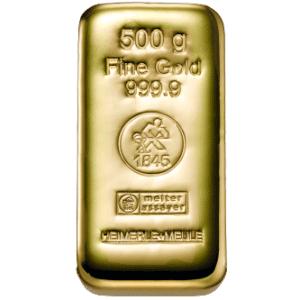 500 gr støbt guldbarre Heimerle -Køb guldbarrer hos Vitus Guld i dag til bedste guldpris