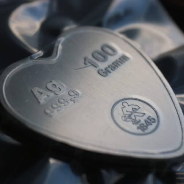 100 gram hjerte sølvbarre fra Heimerle+Meule hos VItus Guld