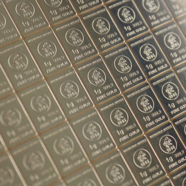 100 X 1 gr. guldbarre combi bar af Heimerle Meule - investerings guldbarre fra Vitus Guld