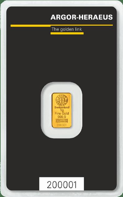 1 gr guldbarre Argor Heraeus - Køb guld og sølv hos Vitus Guld - Danmarks førende