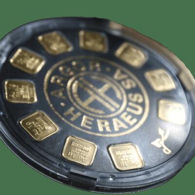 10 x 1 gr Golddisc -Guldbarre - Køb guld og sølv hos Danmarks Førende guldhandler - Vitus Guld.