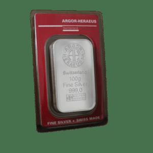 100 gr sølvbarre fra Argor Heraeus Schweiz - Køb sølv hos Vitus Guld til Danmarks bedste sølvpris