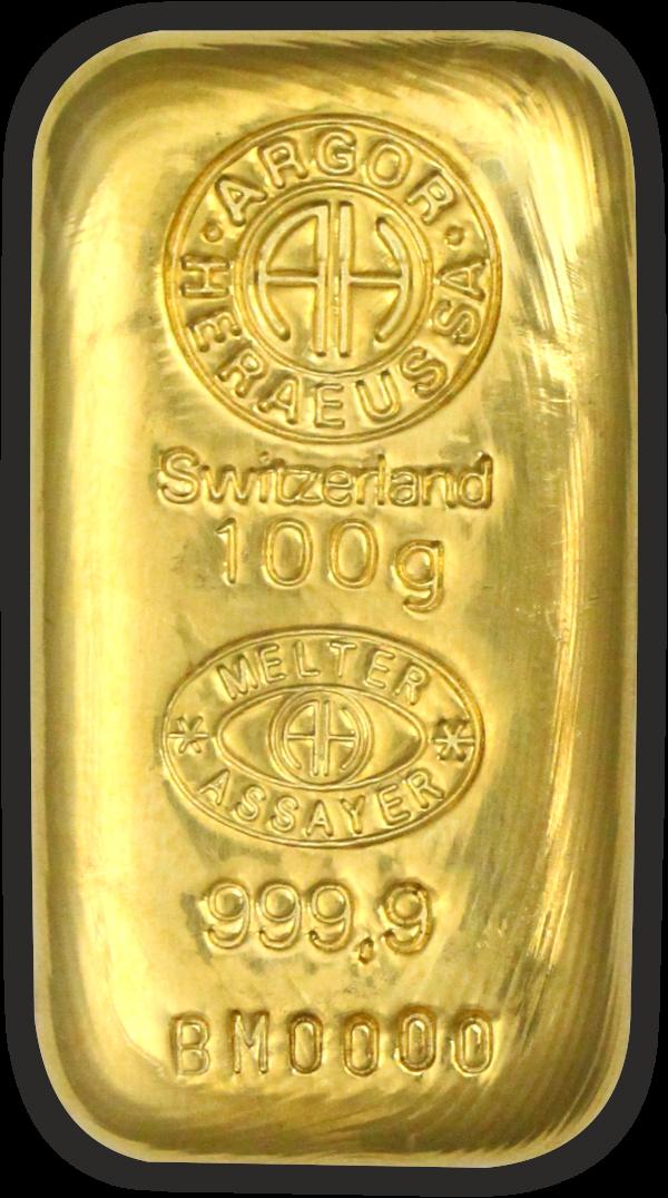 Vitus Guld webshop eksklusive investeringsprodukter fra anerkendte leverandører af ædelmetaller som Argor-Heraeus, Metalor, Heimerle Meule, Valvambi, Degussa, 100 gram rent guld støbt guldbarre ægte guldbarre