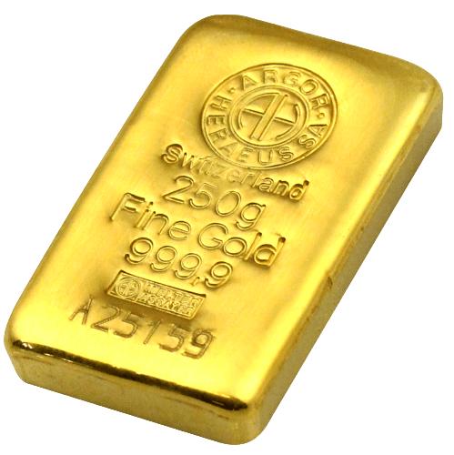 250 gr guldbarre fra Argor -Vitus Guld Danmarks Førende Guldhandler
