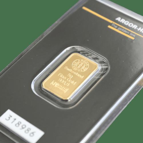 5 gr. guldbarre Argor Heareus - Køb guld og sølv fra Vitus Guld - Danmarks Førende guld og sølv forhandler
