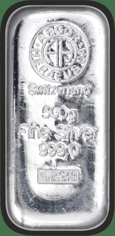 Vitus Guld webshop fysisk investering i sølv Nyproduceret sølvbar med certifikat ægtheds garanti ægte sølv finsølv Argor Heraeus Anerkendt leverandør Schweizisk leverandør af ædelmetaller sikker professionel handel ½ kg 500 gr.