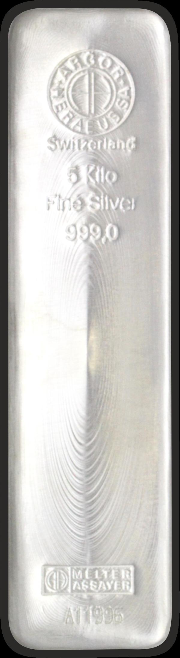 Vitus Guld webshop fysisk investering i sølv Nyproduceret sølvbar med certifikat ægtheds garanti ægte sølv finsølv Argor Heraeus Anerkendt leverandør Schweizisk leverandør af ædelmetaller sikker professionel handel 5 Kg. 5000 gr.