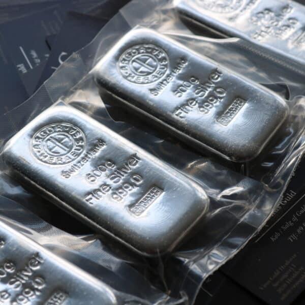500 gr. Støbt Sølvbar 999,0 ‰, Argor-Heraeus Schweiz - Vitus Guld