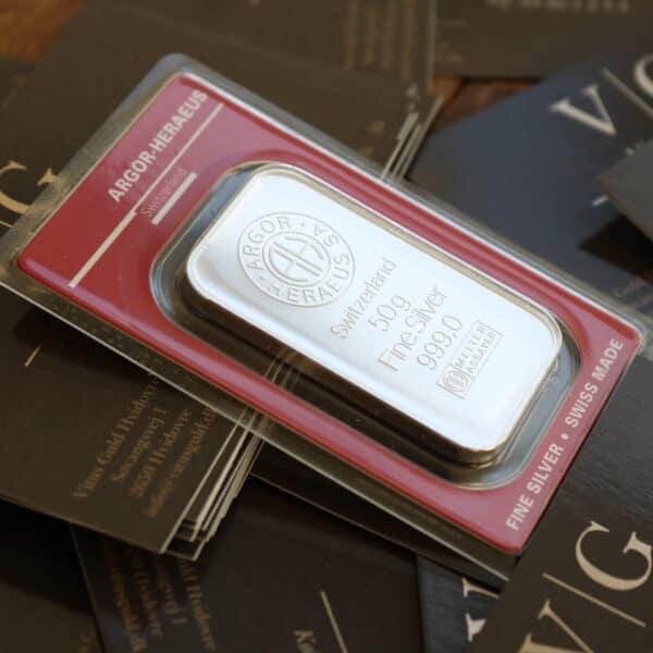Flot sølvbarre fra Argor i Schweiz - Vitus Guld forhandler sølvbarre til investering