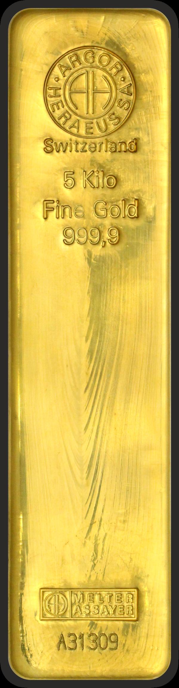 5 kg Guldbarre fra Argor Heraeus i Schweiz. Vitus Guld forhandler Guldbarre