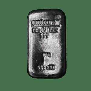 Umicore 1 kg sølvbarre - Køb investeringssølv hos Vitus Guld i form af sølvbarrer