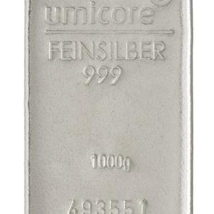1000 gr sølvbarre -1 kg Sølvbarre til investering - Vitus Guld forhandler sølvbarre fra Umicore
