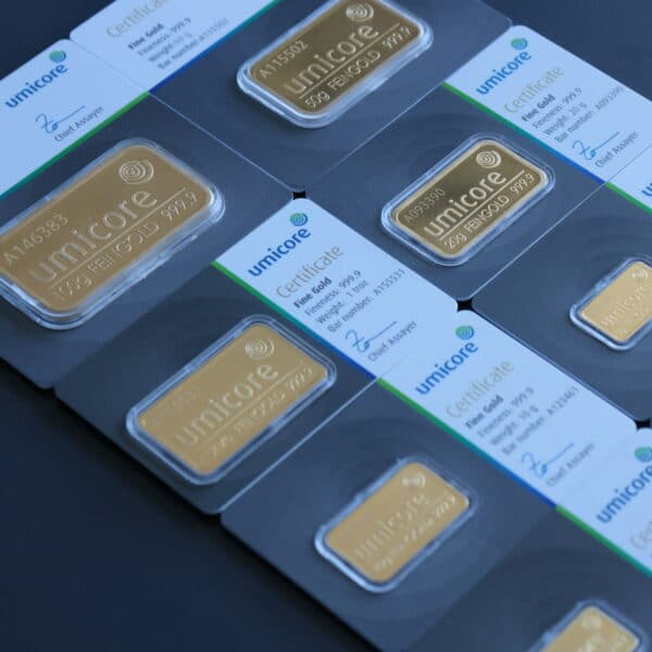 Umicore guldbarrer - forskellige størrelser hos Vitus Guld - Danmarks Største guld investeringsfirma- køb dine guldbarrer i dag hos Vitus Guld- Sælg guldbarrer til gode guldpriser. Investerings guldbarre