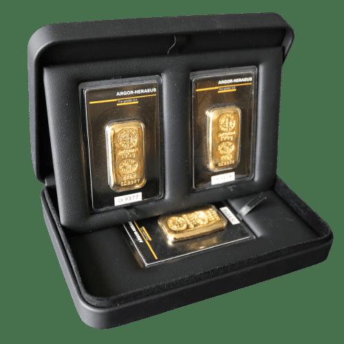 Æske til 3 - guldbarrer - opbevaring af guldbarrer Vitus Guld