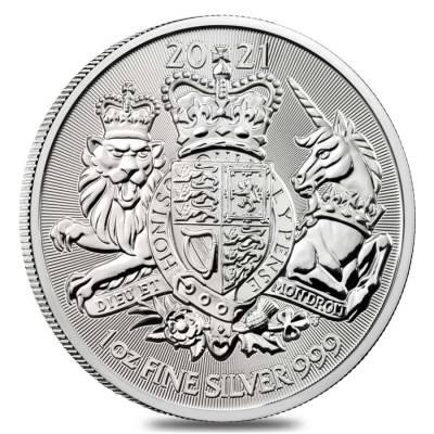 2021 1 oz £2 GBP UK Silver The Royal Arms Coin- Sølvmønter sælges som investering hos Vitus Guld - Danmarks Førende Guldhandler