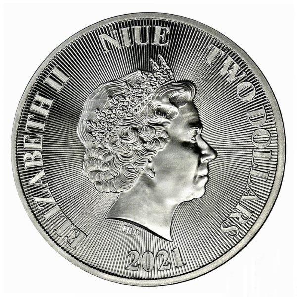 2021 1 oz $2 NZD Niue Roaring Lion Silver Coin - Sølvmønter til Investering - køb dem hos Vitus Guld - Danmarks Førende ædelmetals handler