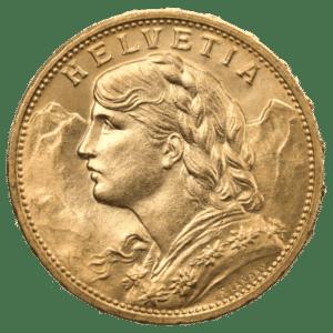 """20 Francs - """"Vreneli"""" - Vitus Guld - Danmarks Førende Guldforhandler af guldmønter"""