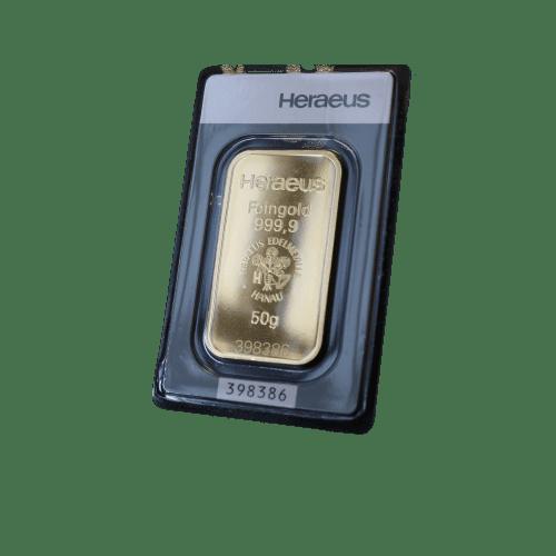 50 gr guldbarre fra Heraeus Schweiz - Køb guld i dag og bevar din købekraft