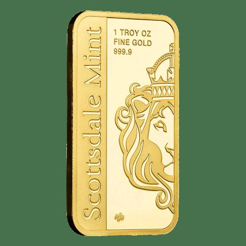 1 oz. - 31,1 gr Guldbarre med Ærke englen Michael - Køb guld og sølv hos Vitus Guld - bedste guldpris