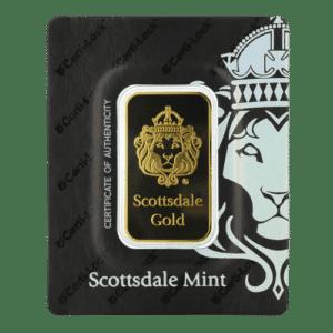 1 oz - 31,1 gram. Lion guldbarre fra Scottsdale Mint og Argor Heraeus - Køb guldbarre hos Vitus Guld