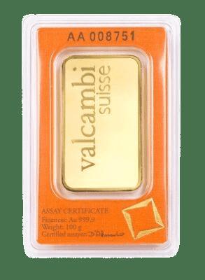 Valcambi 100 gr. guldbarre fra Vitus Guld - Køb guld i dag og bevar din købekraft over tid